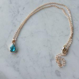 Elegant Drop Pendant Necklace - Light Blue Stone